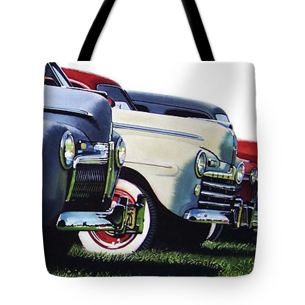 Antique Cars Tote Bag featuring the painting Line Up by Denny Bond