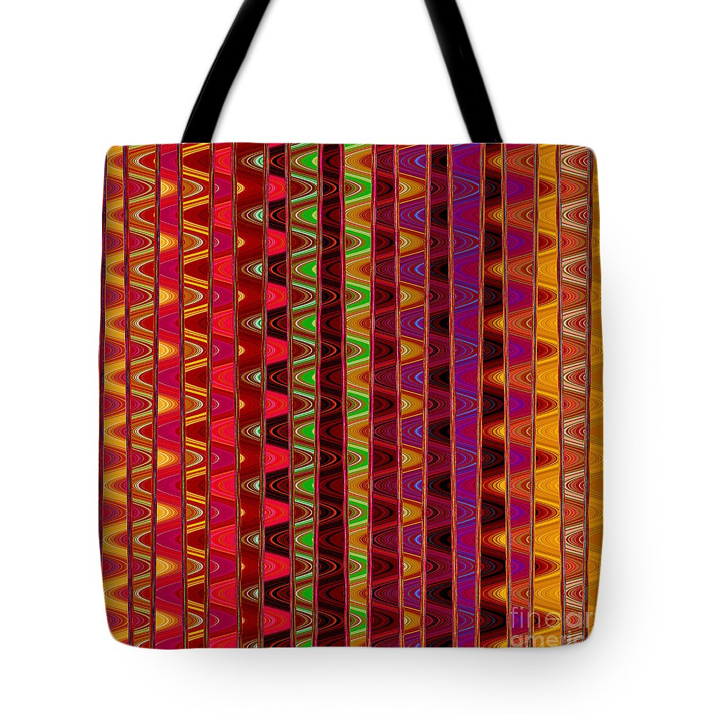 Unique Tote Bag featuring the digital art Line Waves by Susan Stevenson