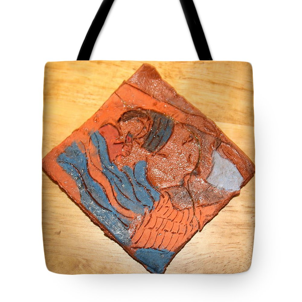 Jesus Tote Bag featuring the ceramic art Lines - Tile by Gloria Ssali