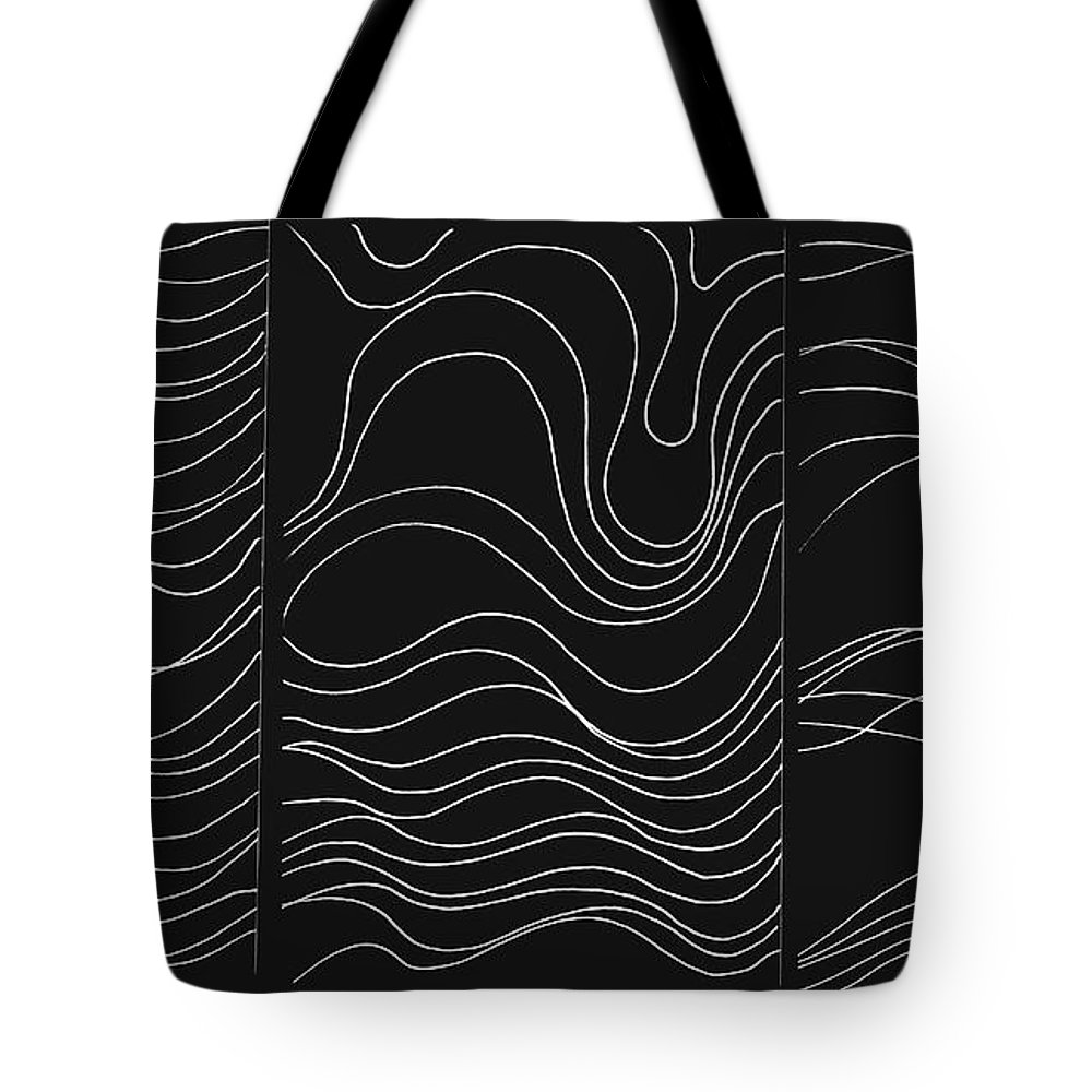 White Lines Tote Bag featuring the digital art Lines 1-2-3 White On Black by Helena Tiainen