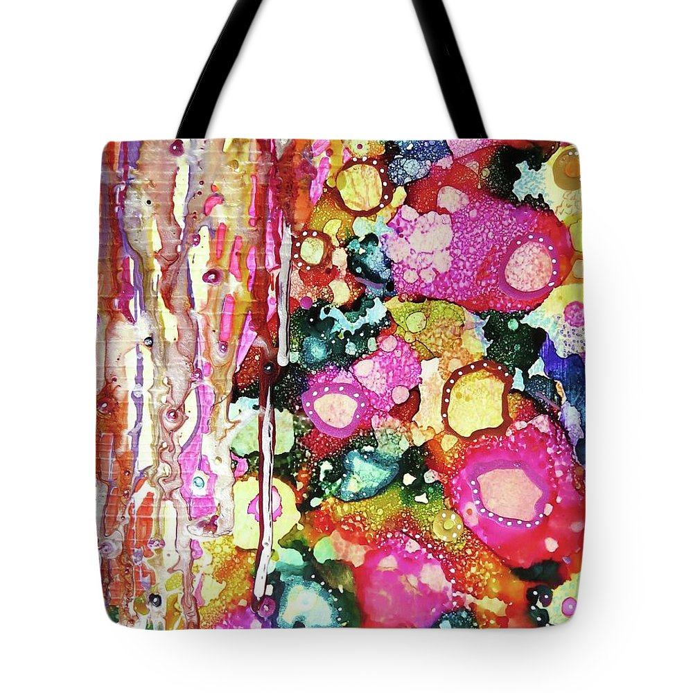 Abstract Tote Bag featuring the mixed media Lines And Bubbles by Desiree Paquette