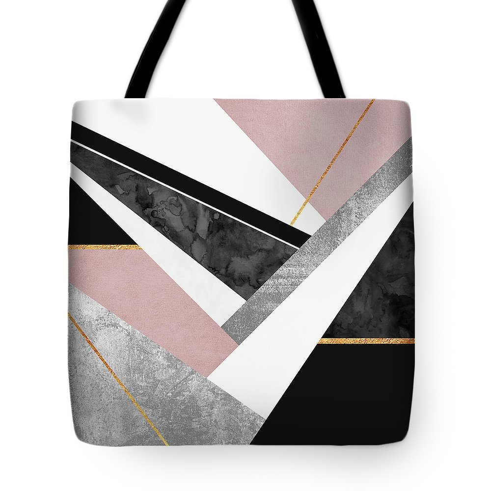 Digital Tote Bag featuring the digital art Lines and Layers by Elisabeth Fredriksson