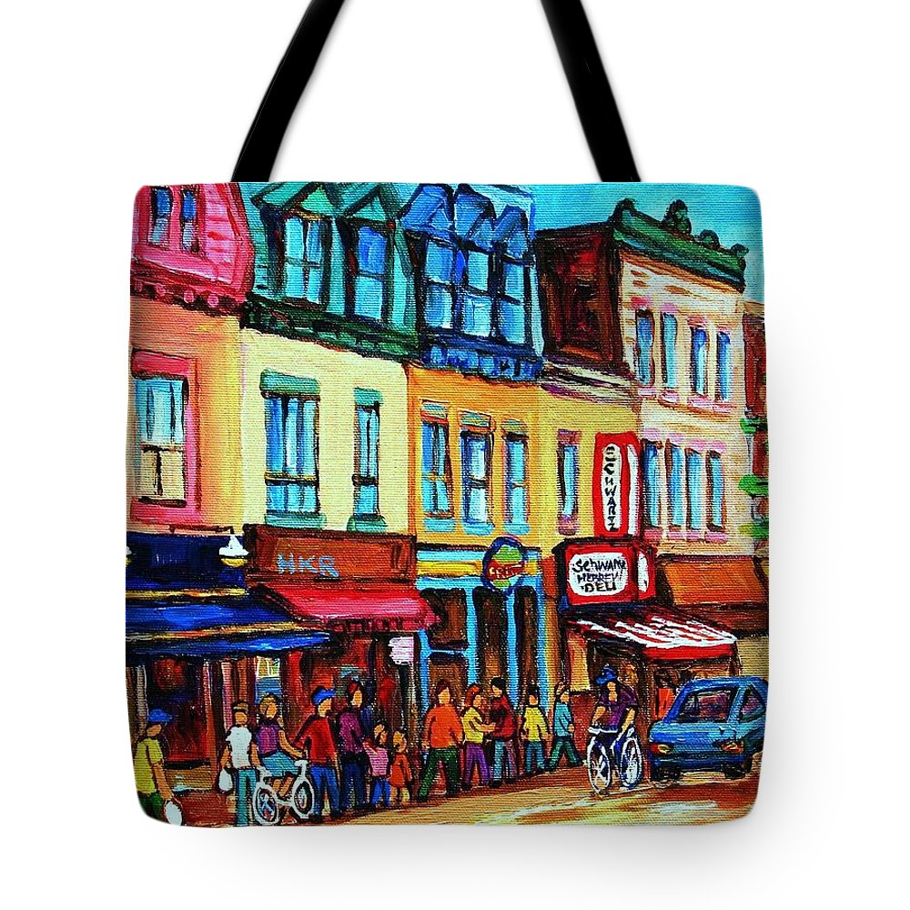 Cityscape Tote Bag featuring the painting Lineup For Smoked Meat Sandwiches by Carole Spandau