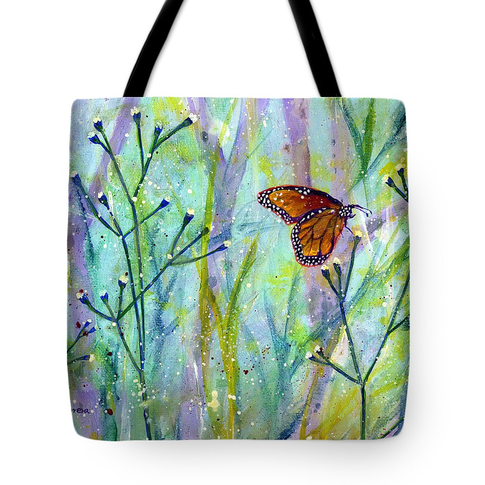 Butterfly Tote Bag featuring the painting Lingering Memory 1 by Hailey E Herrera