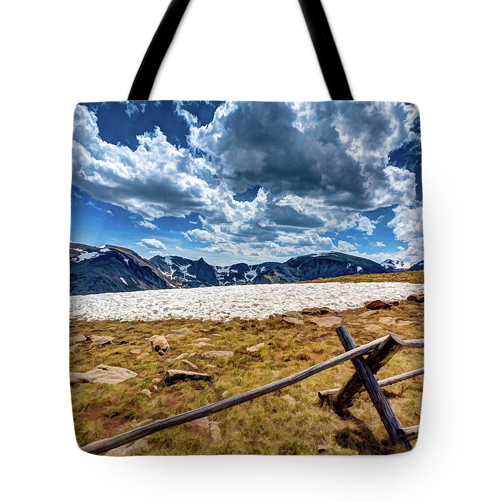 Colorado Tote Bag featuring the photograph Lingering Snow by Dave Thompsen