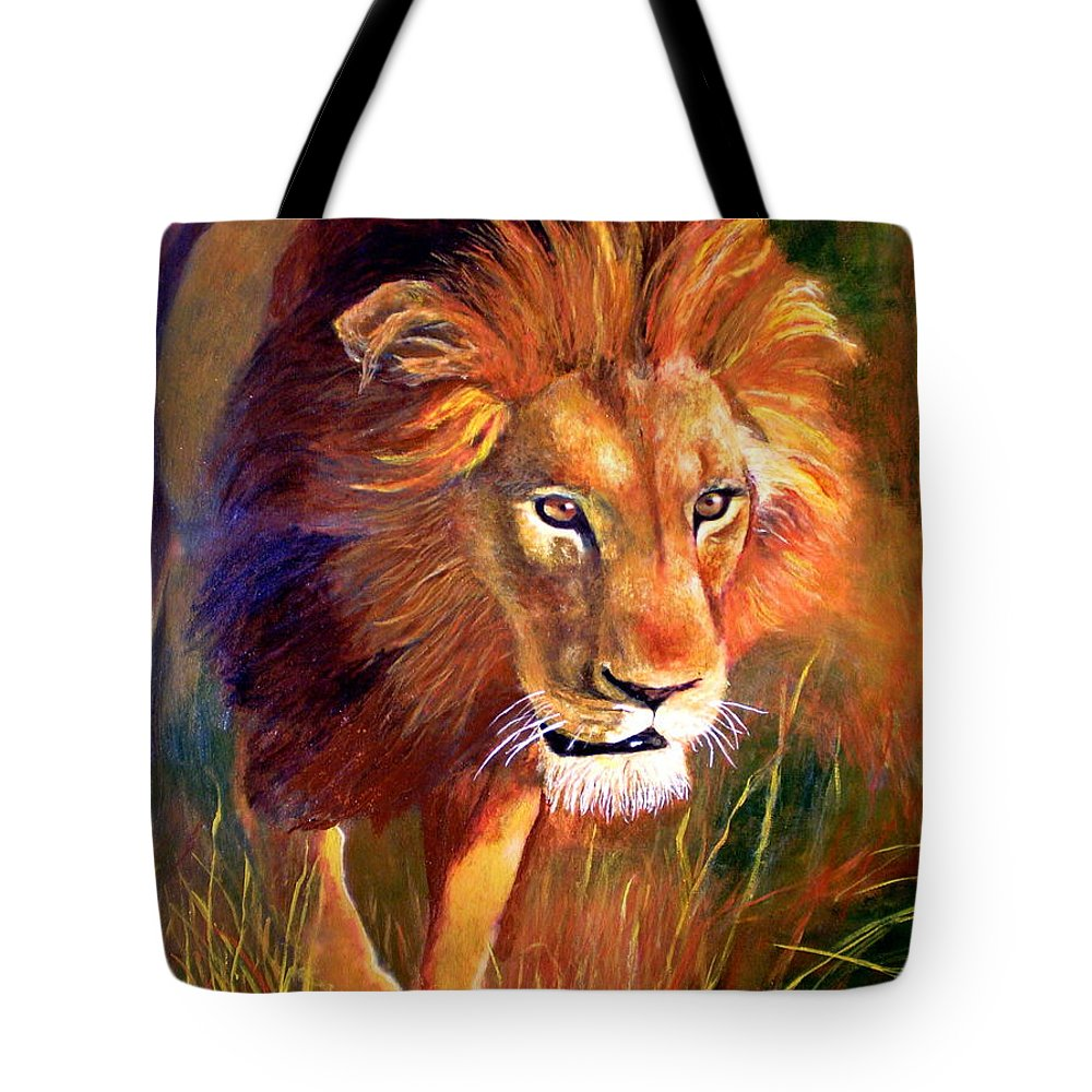 Lion Tote Bag featuring the painting Lion At Sunset by Michael Durst