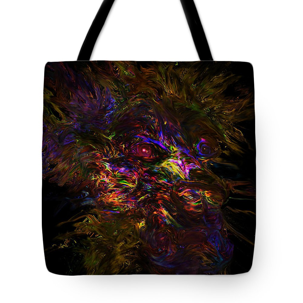 Lion Mane Colorful Abstract Regina Saskatchewan Artists Wild Animal Color Digital Print Tote Bag featuring the digital art Lion Aura by Andrea Lawrence