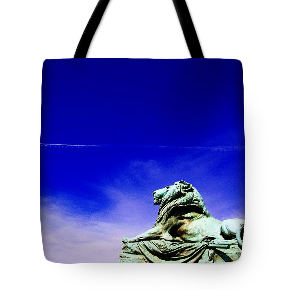 Washington Statue Of Lion Tote Bag featuring the photograph Lion Bluesky by Alice Gipson