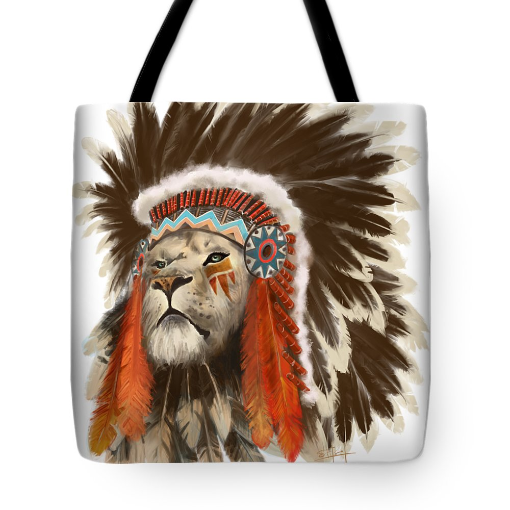 Lion Tote Bag featuring the painting Lion Chief by Sassan Filsoof