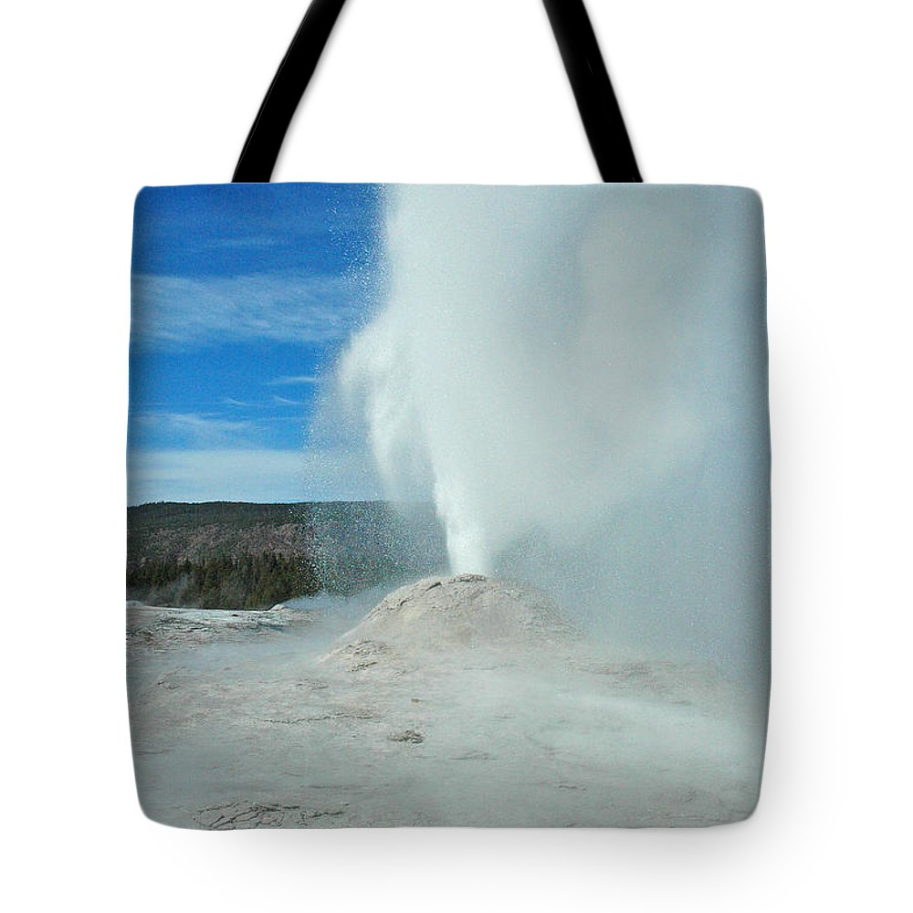 Yellowstone Tote Bag featuring the photograph Lion Geyser Yellowstone by Bruce Gourley