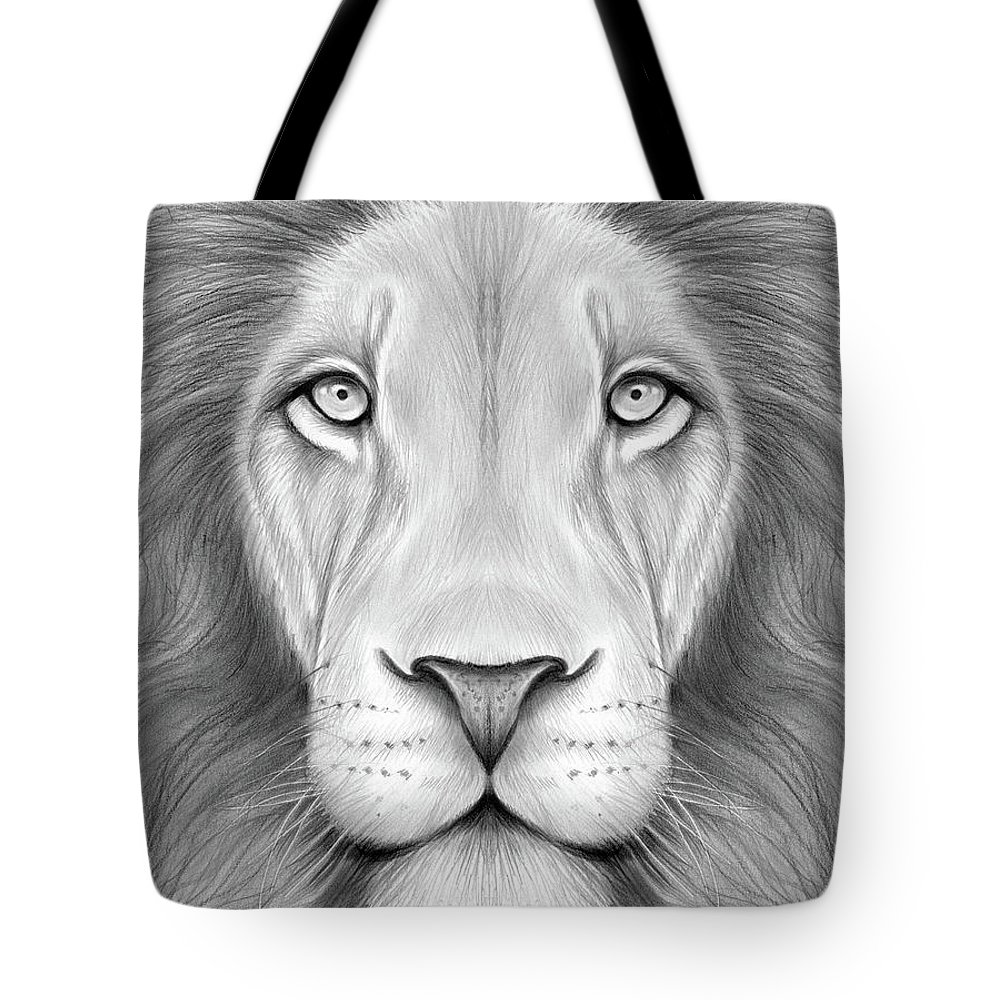 Lion Head Tote Bag featuring the drawing Lion Head by Greg Joens
