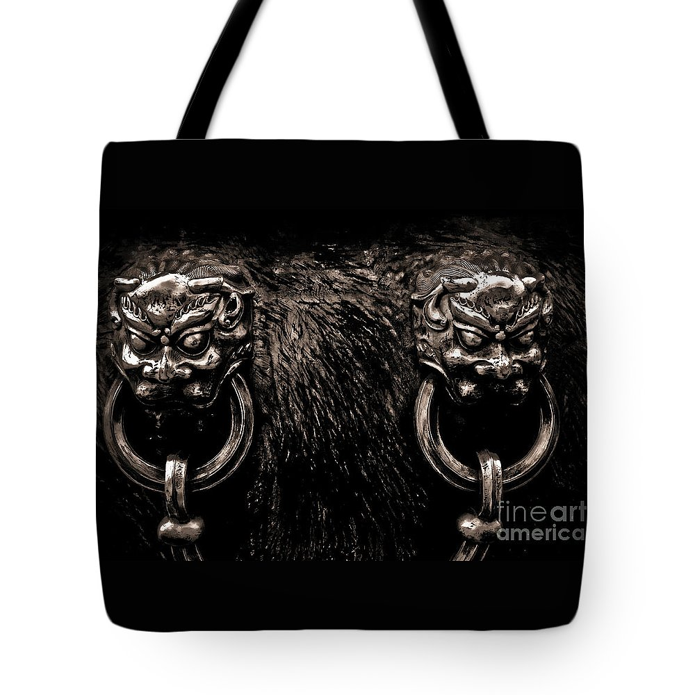 Ancient Tote Bag featuring the photograph Lion Head Handle by Venetta Archer