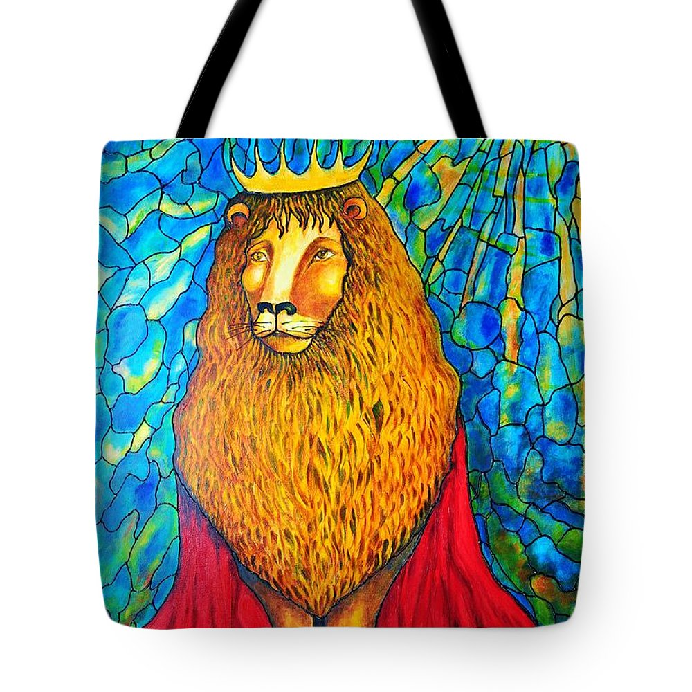 Original Art Tote Bag featuring the painting Lion-king by Rae Chichilnitsky