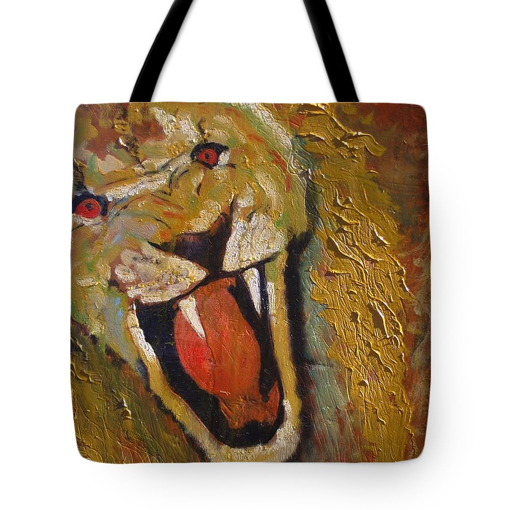 Lion Tote Bag featuring the painting Lion one by J Bauer