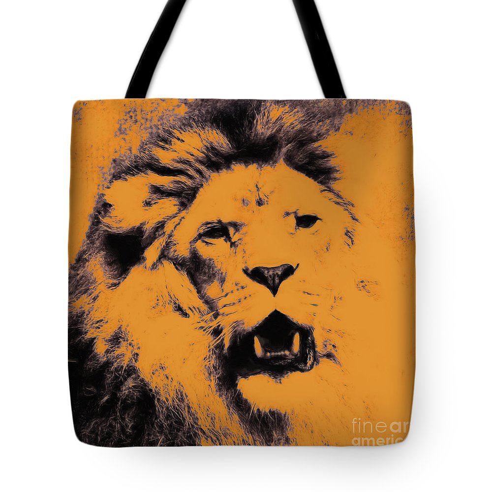 Lion Tote Bag featuring the digital art Lion Pop Art by Angela Doelling AD DESIGN Photo and PhotoArt