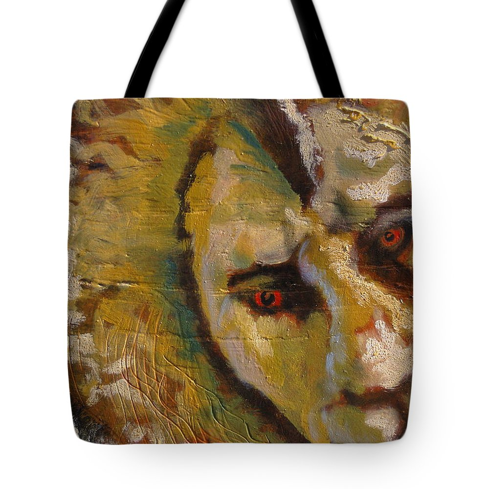 Lion Tote Bag featuring the painting Lion Three by J Bauer