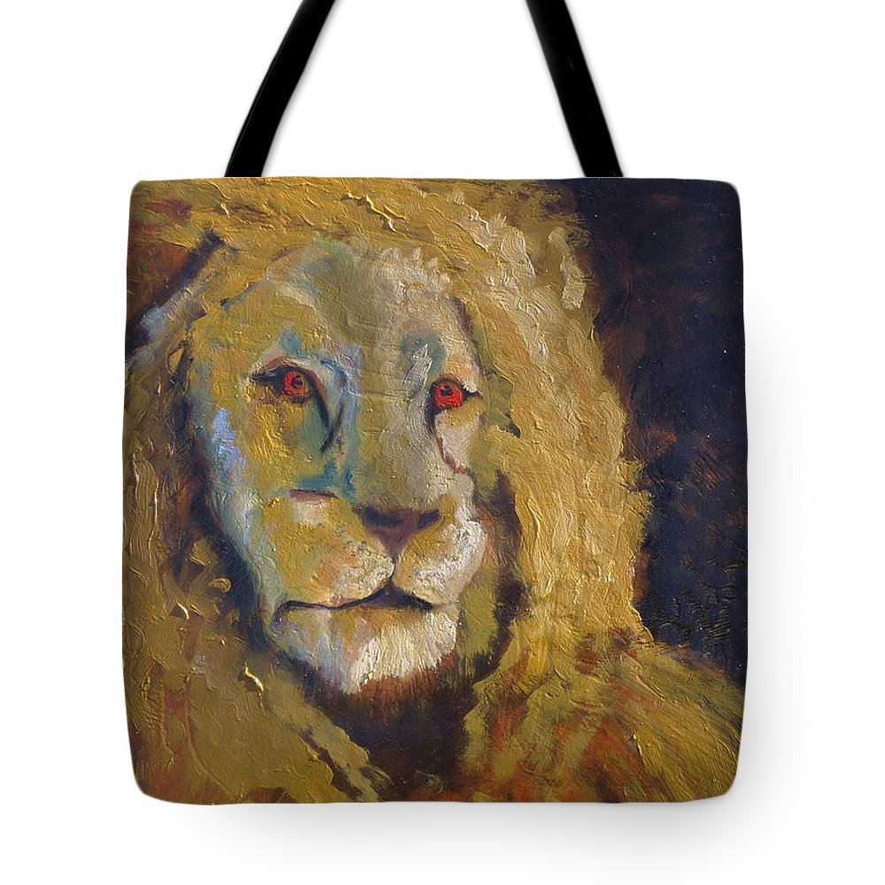 Lion Tote Bag featuring the painting Lion two by J Bauer