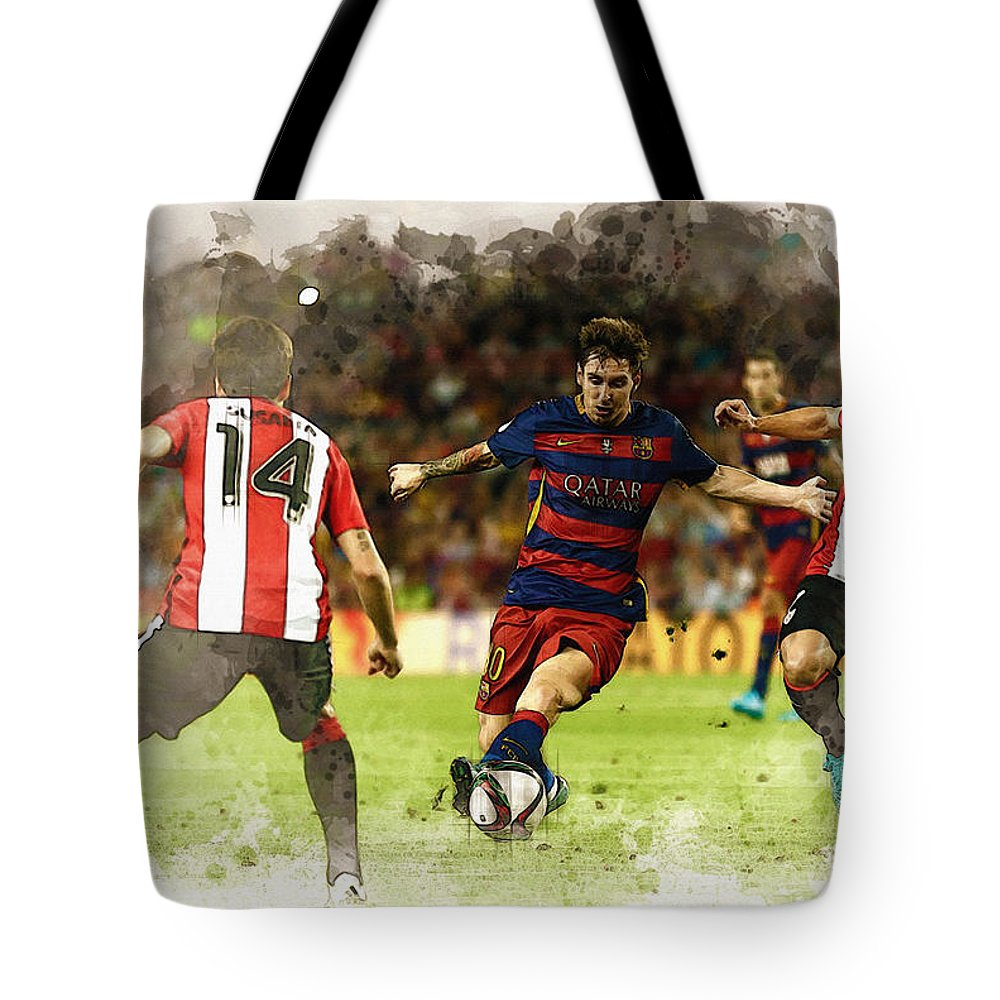 Home Art & Collectibles Tote Bag featuring the digital art Lionel Messi Challenges The Athletic Bilbao Defense by Don Kuing