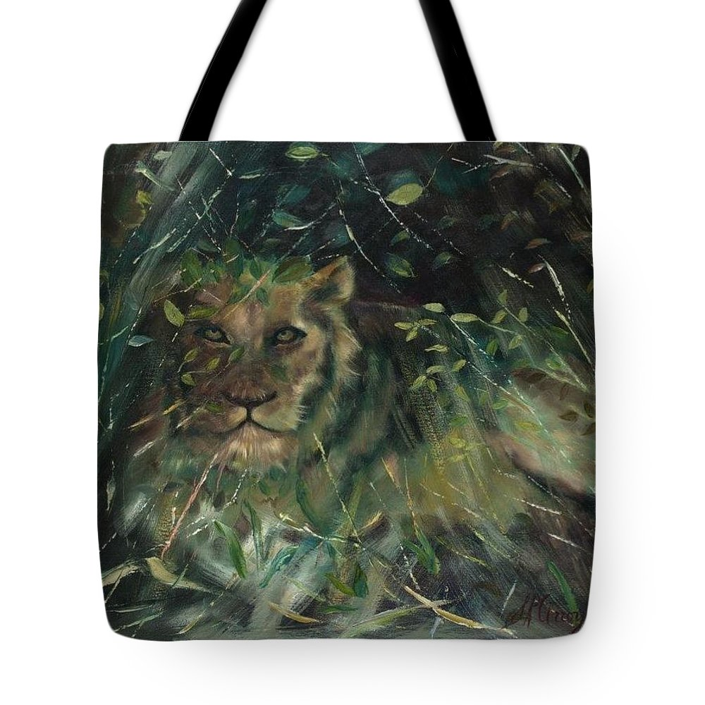 Lion Tote Bag featuring the painting Lioness' Den by Sally Arroyo