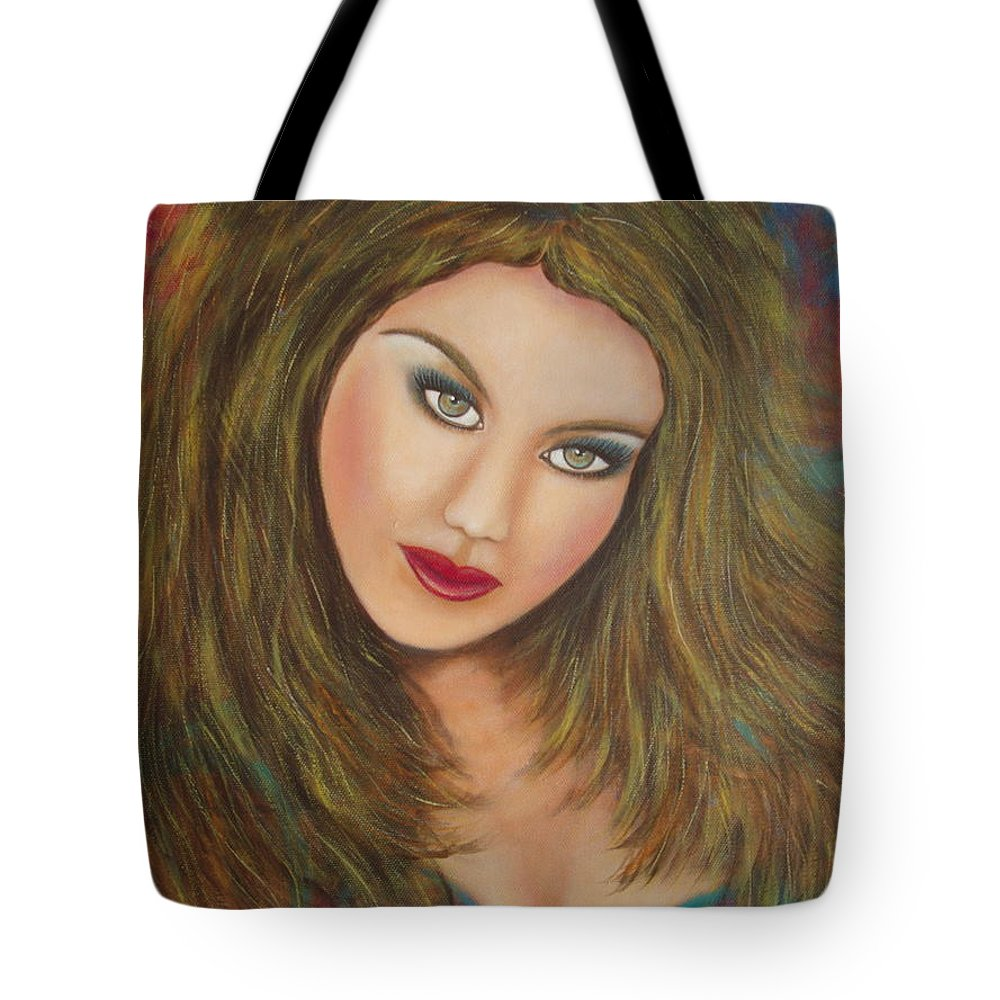 Portrait Tote Bag featuring the painting Lioness by Natalie Holland