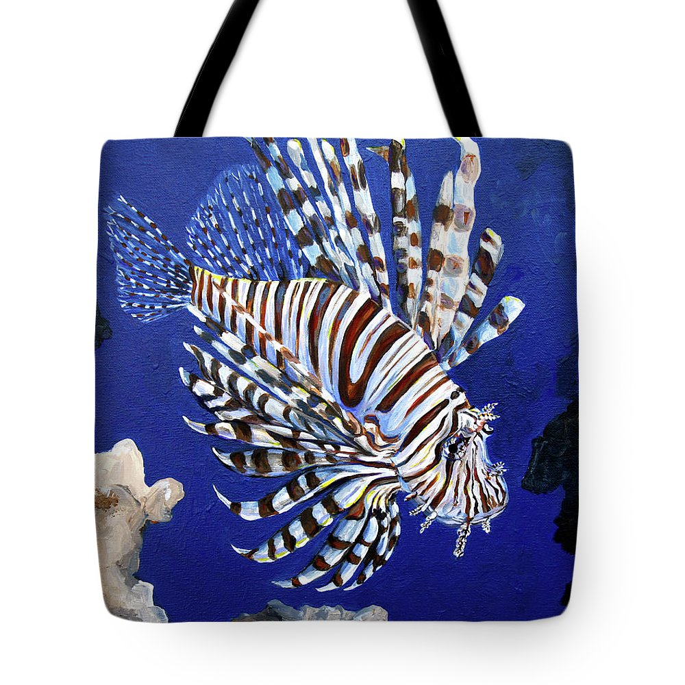Lionfish Tote Bag featuring the painting Lionfish 2 by Amanda Zirzow