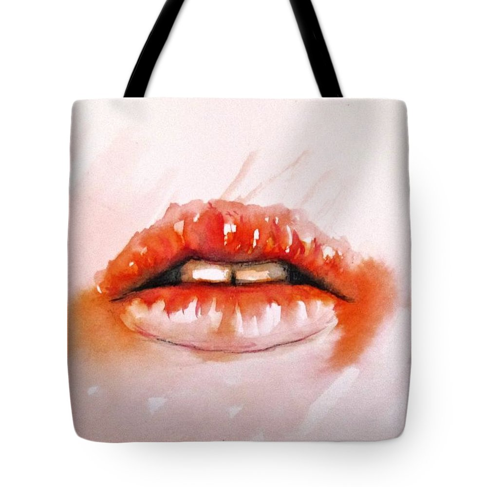 Aceo Tote Bag featuring the painting Lips by Natalja Picugina