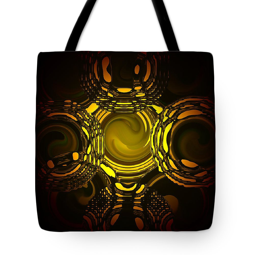 Art Tote Bag featuring the digital art Liquid Aurora 1 by Andrea Lawrence