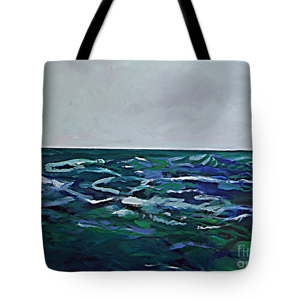 Seacsape Tote Bag featuring the painting Liquid Blue No.4 by Jen Dacota