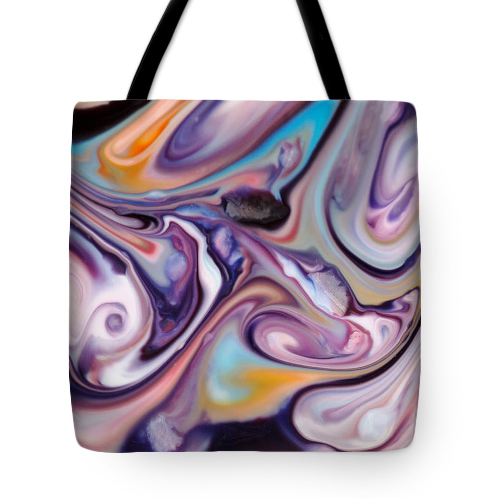 Abstract Tote Bag featuring the photograph Liquid Iris by Liz Howerton