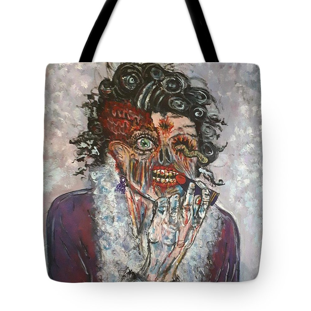 Zombie Tote Bag featuring the painting Lisa by Lisa Koyle