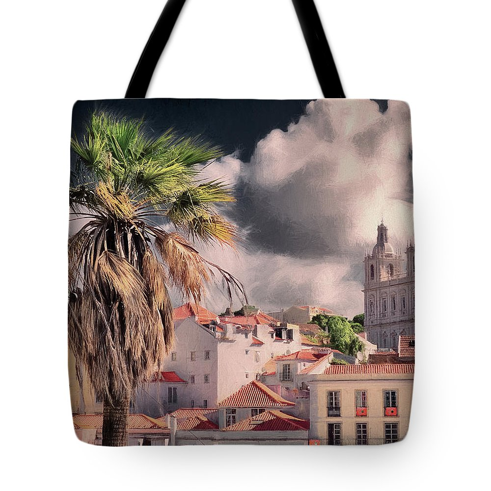 Portugal Tote Bag featuring the photograph Lisbon Cityscape 4 by Claude LeTien