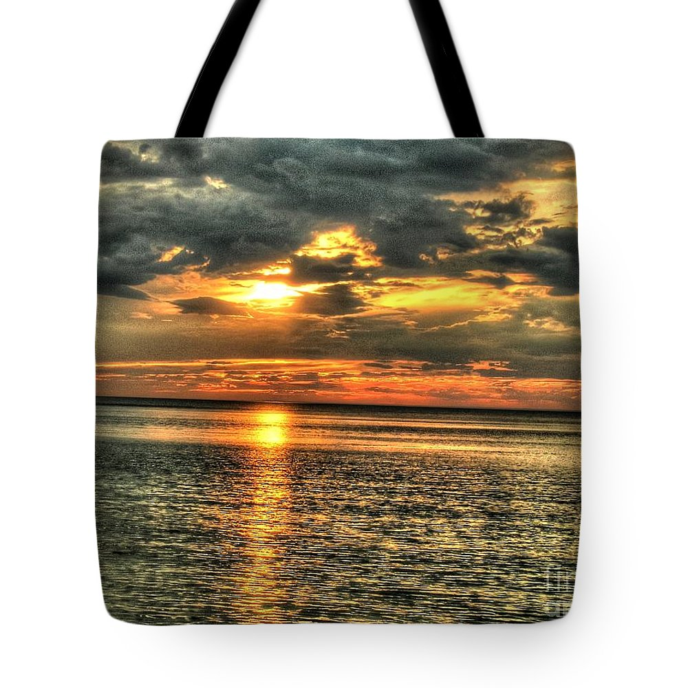 L.i.sound Sunset Tote Bag featuring the photograph L.i.sound Sunset by Terry McCarrick