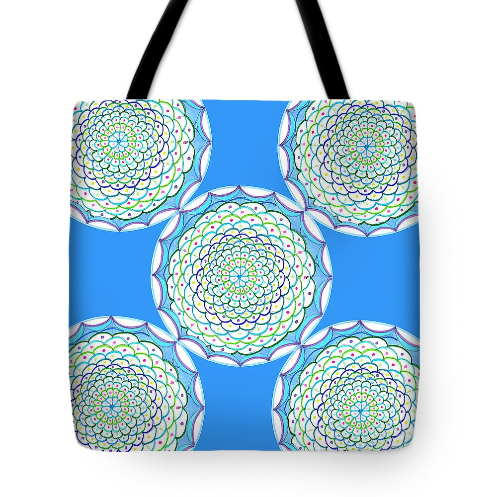 Mandala Tote Bag featuring the drawing Listen And Take Action I by Signe Beatrice