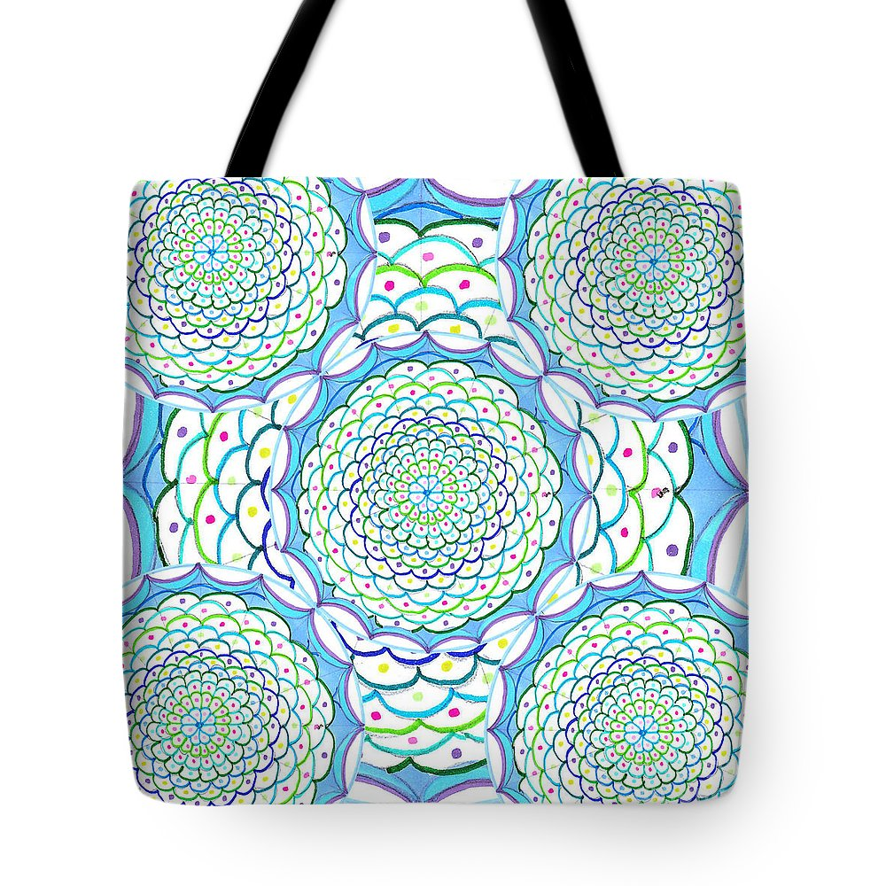 Mandala Tote Bag featuring the drawing Listen And Take Action Ill by Signe Beatrice