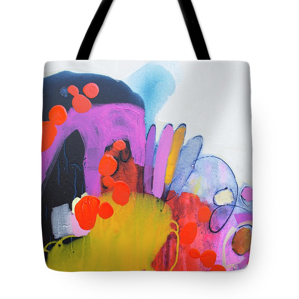 Abstract Tote Bag featuring the painting Listen Carefully To The Night by Claire Desjardins