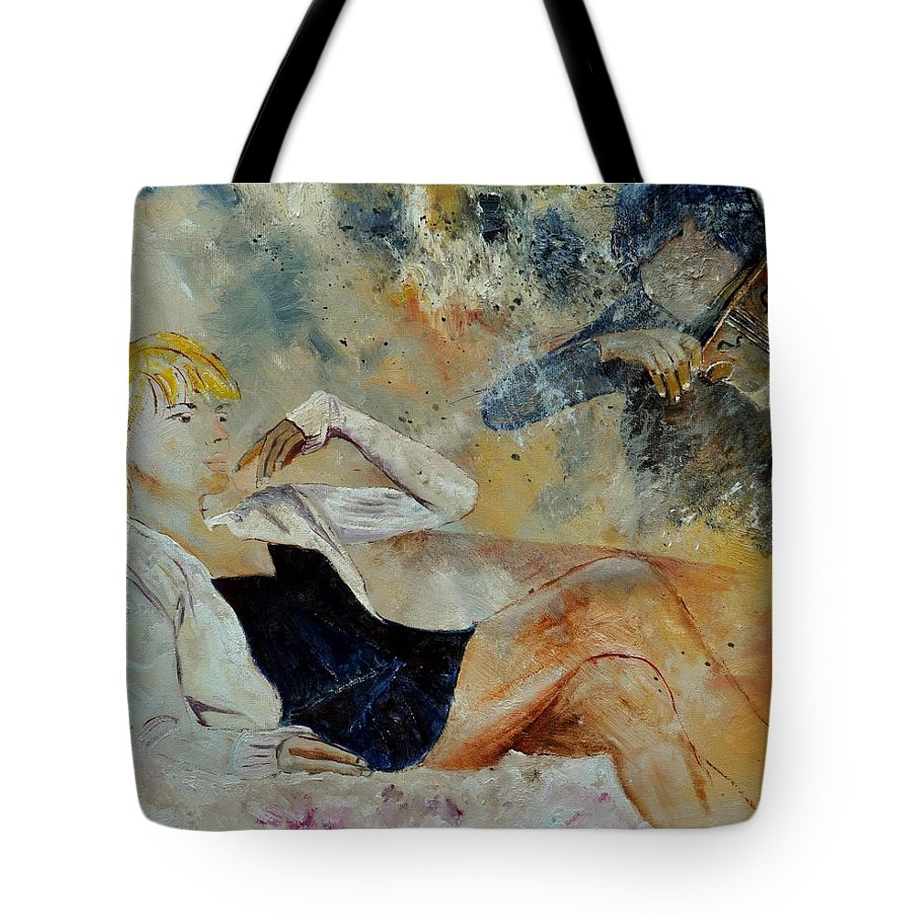 Misic Tote Bag featuring the painting Listening To The Violin by Pol Ledent