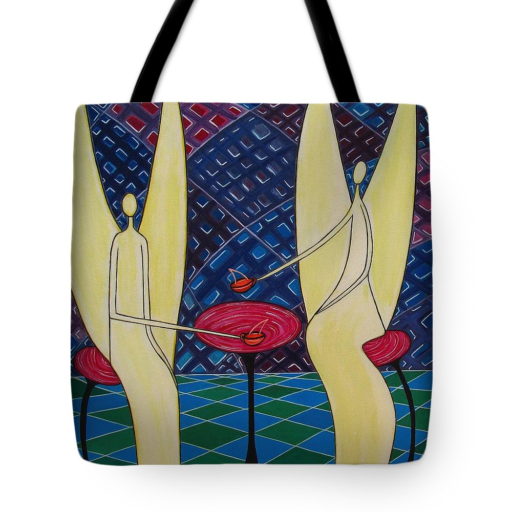 Angels Having Cofee Tote Bag featuring the painting Lite Tea by Sandra Marie Adams