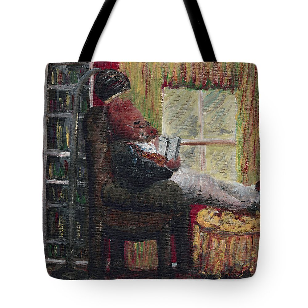 Hog Tote Bag featuring the painting Literary Escape by Nadine Rippelmeyer