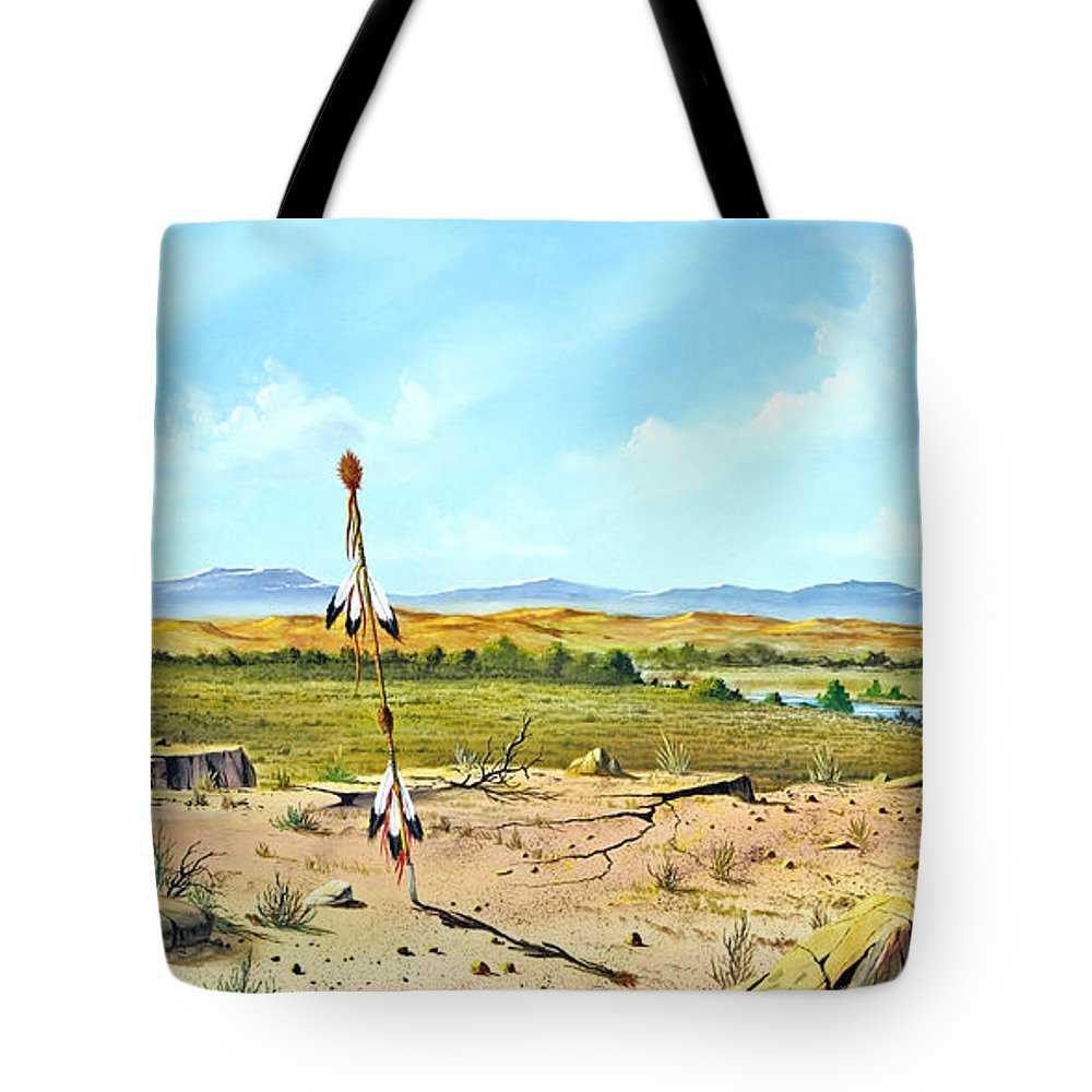 Landscape Tote Bag featuring the painting Little Bighorn by Don Griffiths