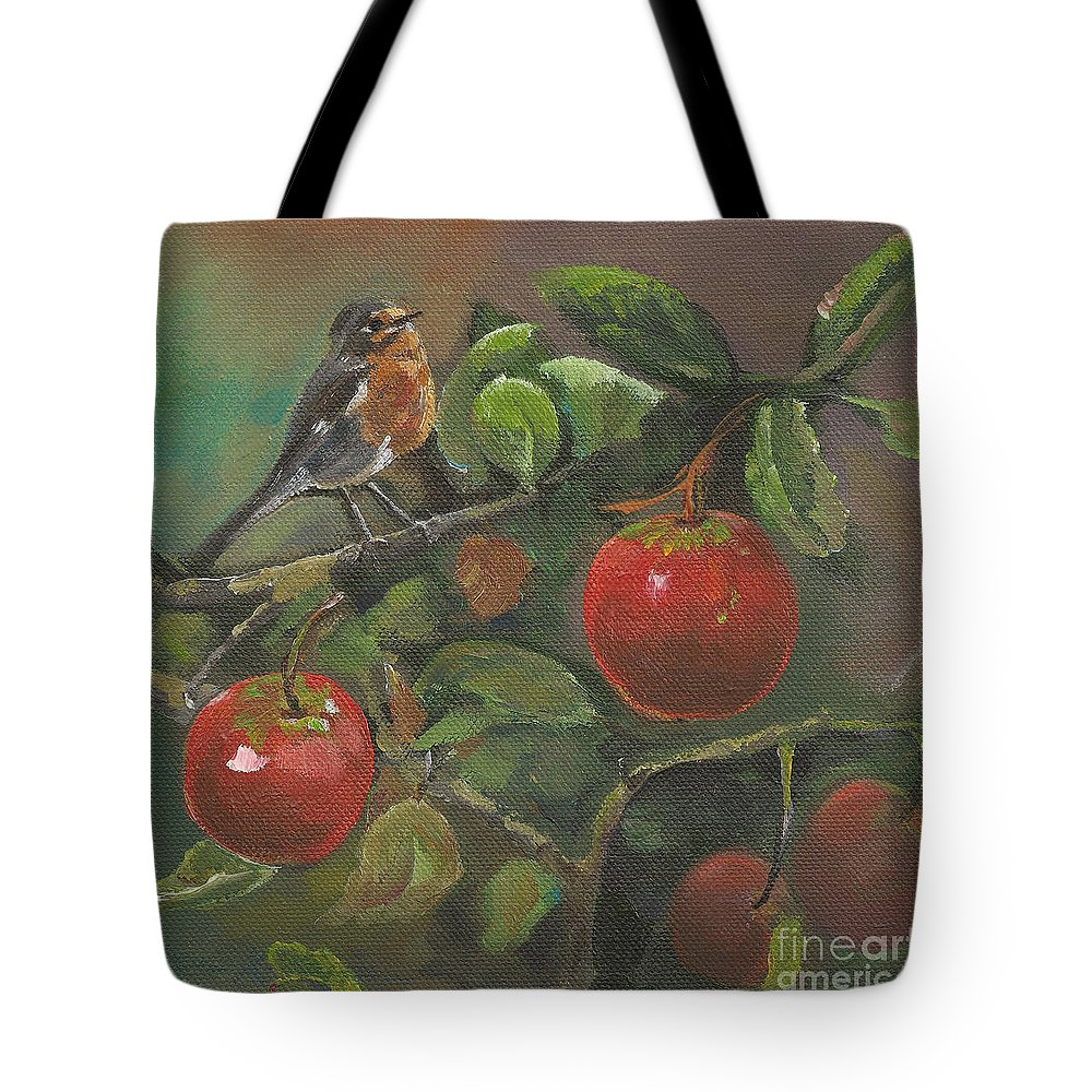 Bird Tote Bag featuring the painting Little Bird In The Apple Tree by Jan Dappen