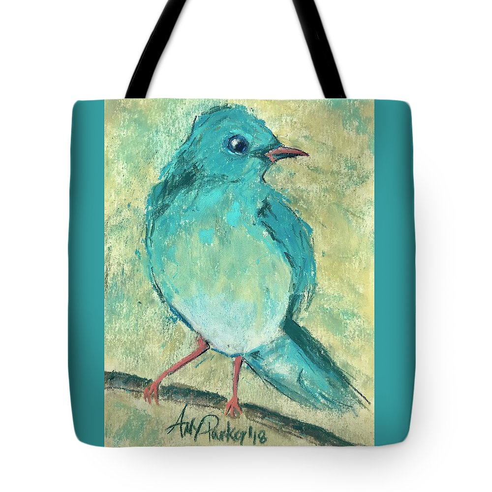 Prophetic Art Painting Blue Bird Matthew 6:26 Bible Scripture Verse Branch Nature God Worry Father Birds Tote Bag featuring the pastel Little Bird, Little Bird by Amy Parker Evans