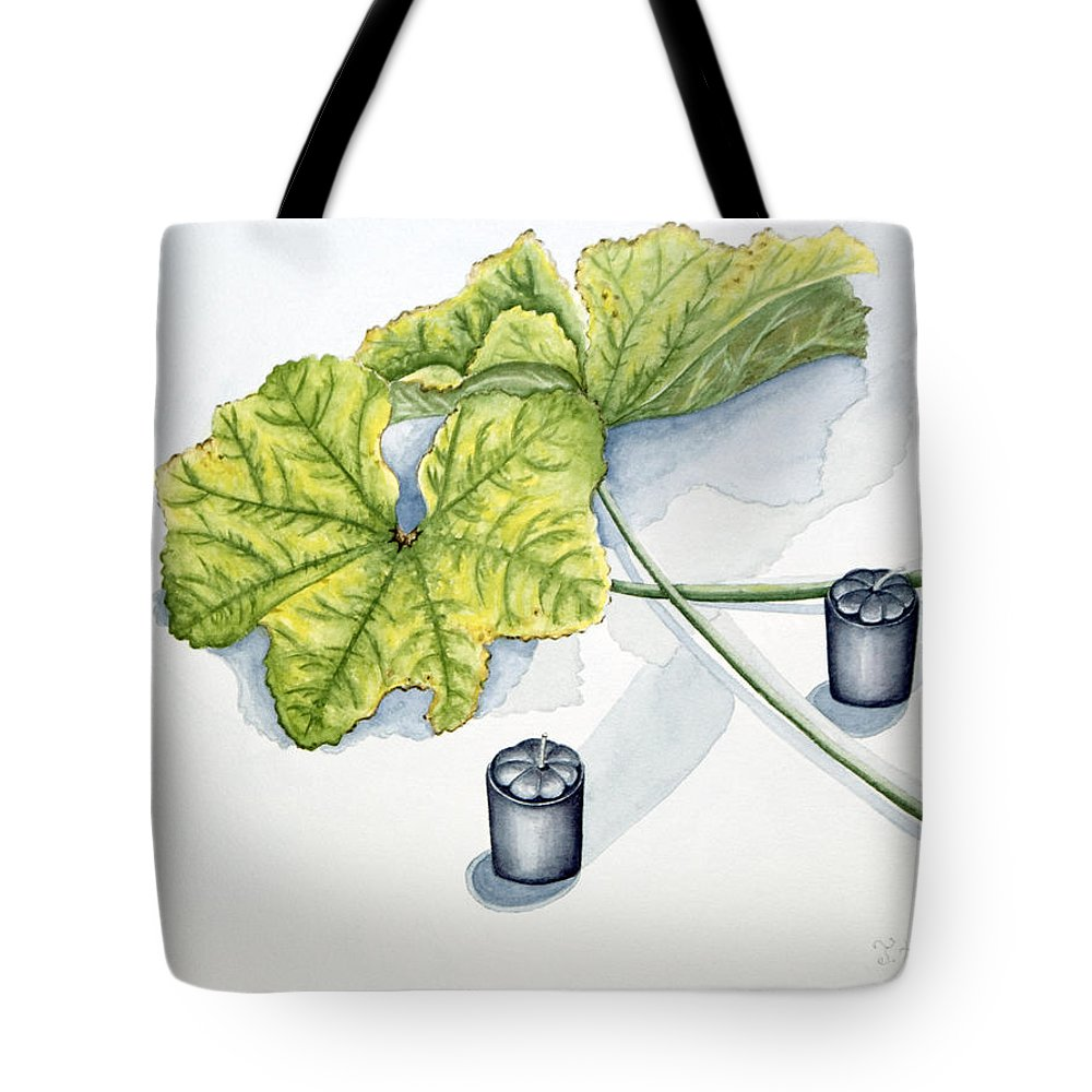 Candles Tote Bag featuring the painting Little Black Candles by Judy Henninger