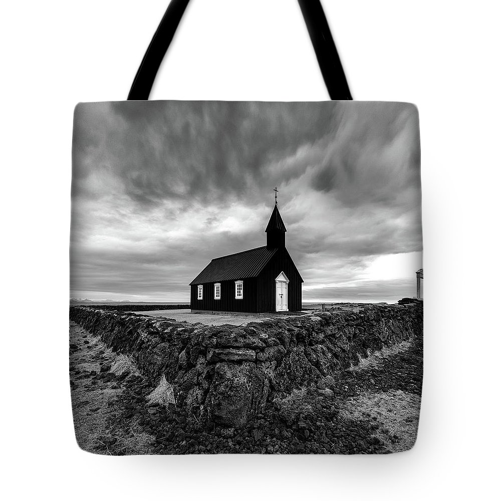 Iceland Tote Bag featuring the photograph Little Black Church 2 by Larry Marshall