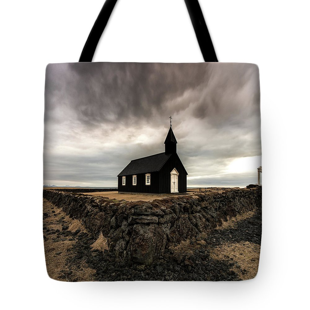 Iceland Tote Bag featuring the photograph Little Black Church by Larry Marshall