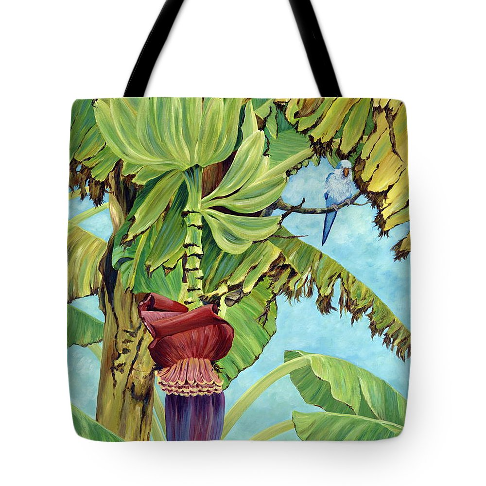 Tropical Tote Bag featuring the painting Little Blue Quaker by Danielle Perry