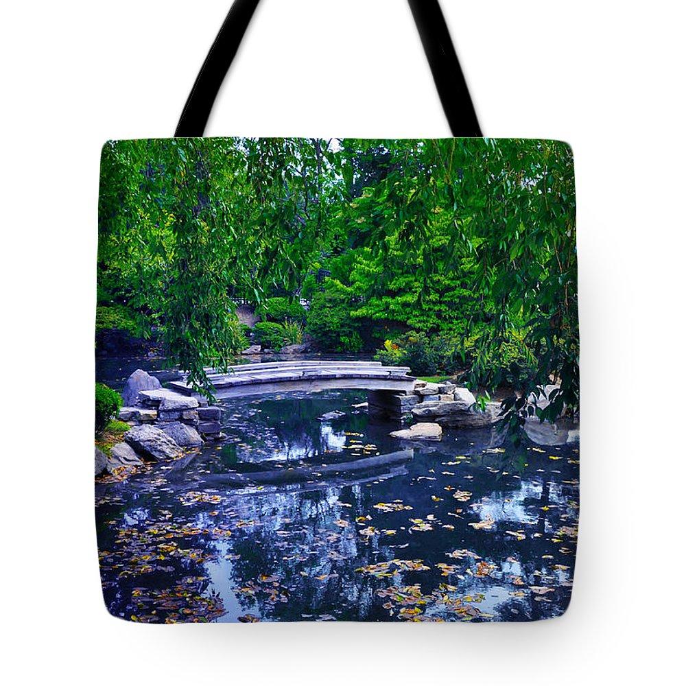Bridge Tote Bag featuring the photograph Little Bridge - Japanese Garden by Bill Cannon