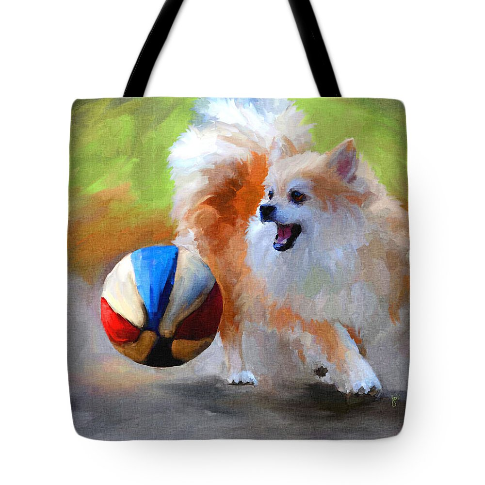 Pomeranian Tote Bag featuring the painting Little Cheerleader by Jai Johnson