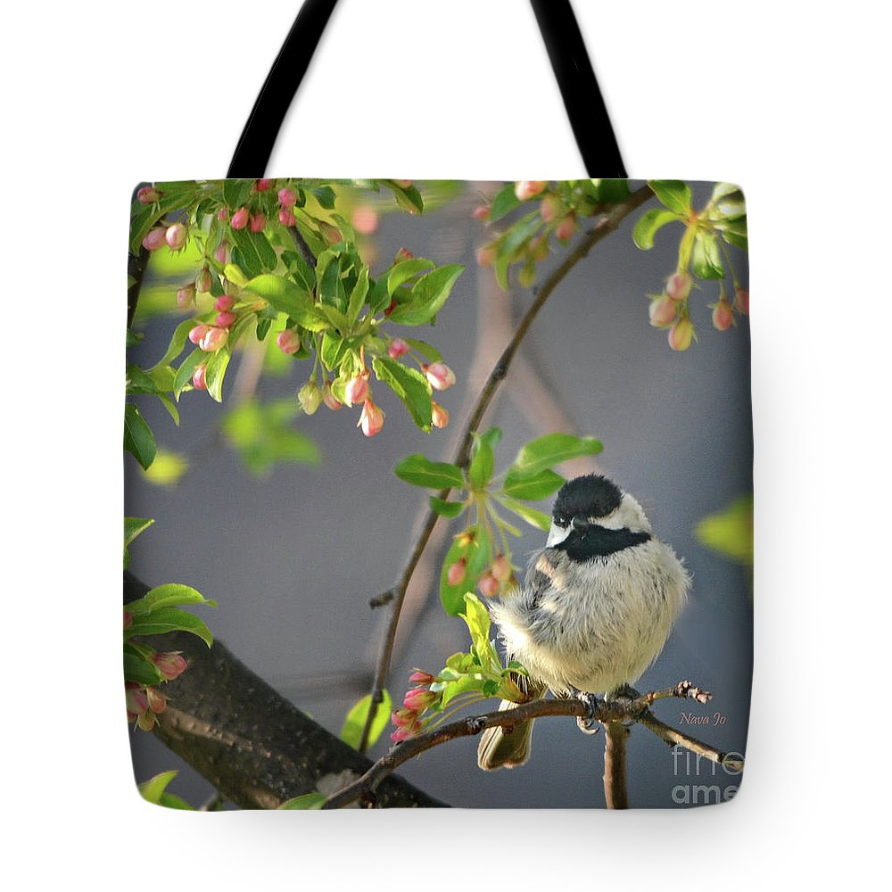 Nature Tote Bag featuring the photograph Little Chickadee In The Pink by Nava Thompson