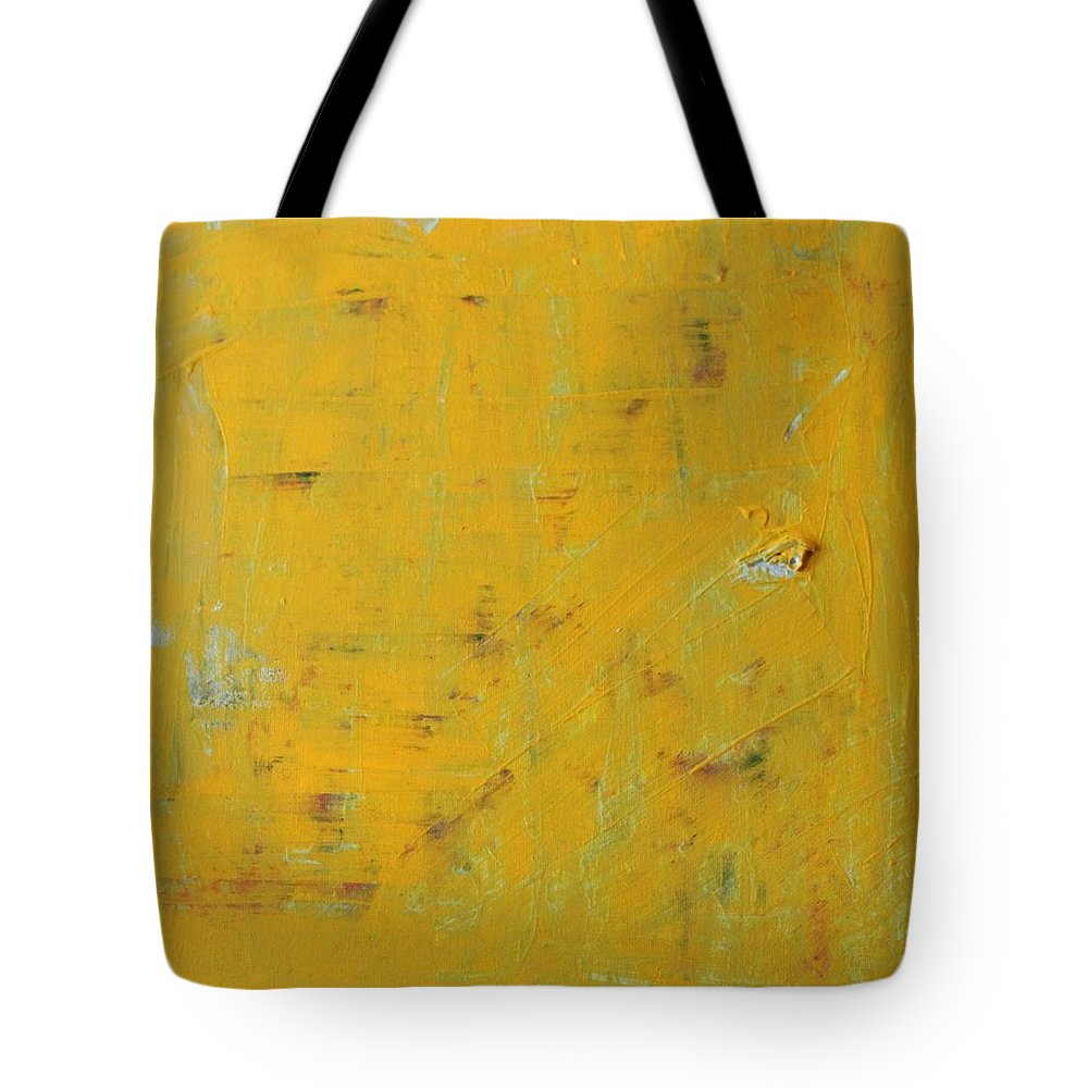 Yellow Tote Bag featuring the painting Little Dab Will Do Ya by Pam Roth O'Mara
