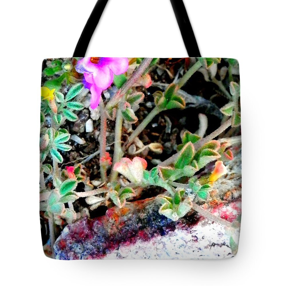 Tiny Flowers Tote Bag featuring the photograph Little Desert Darlings by L Cecka